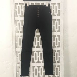 Pistola exposed button ankle length skinny jeans